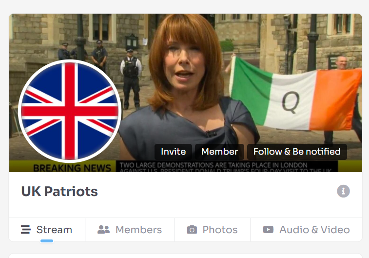 A picture of the header for WeWake group 'UK Patriots'. The banner image has a female BBC presenter speaking to camera, as two men holding an Irish flag with the letter Q on it stand in the background. The profile picture is the flag of the United Kingdom