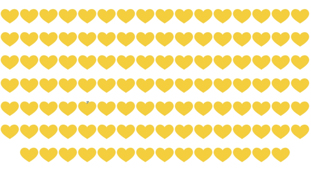 Image of 110 yellow hearts